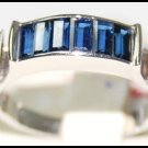 Jewelry Diamond Blue Sapphire Gemstone 18K White Gold Ring [RQ0036]