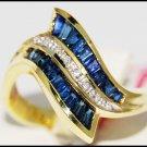 Wedding 14K Yellow Gold Diamond Gemstone Blue Sapphire Ring [RR023]
