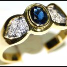 Oval Blue Sapphire Solitaire 18K Yellow Gold Diamond Ring [RS0077]