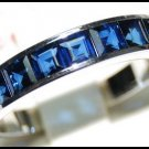 Wedding Blue Sapphire Gemstone 18K White Gold Band Ring [R0028]
