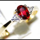 Natural Ruby Solitaire Ring Diamond 18K Yellow Gold [RS0003]