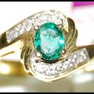 Diamond Natural 18K Yellow Gold Solitaire Emerald Ring [RS0132]
