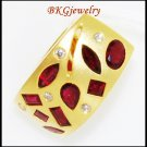 18K Yellow Gold Diamond Jewelry Gemstone Ruby Pendant [P0076]