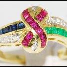 Multi Gemstone Natural Jewelry Diamond 18K Yellow Gold Ring [R0047]