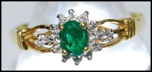 Eternity Emerald Diamond Solitaire 18K Yellow Gold Ring [RS0046]