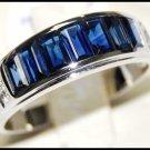 Genuine Blue Sapphire Gemstone Diamond 18K White Gold Ring [RQ0002]