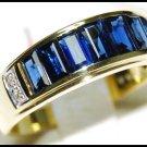 For Men Eternity Blue Sapphire Diamond Ring 18K Yellow Gold [RQ0002]