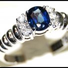 Solitaire Diamond Eternity 18K White Gold Blue Sapphire Ring [RS0041]