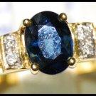 18K Yellow Gold Solitaire Unique Blue Sapphire Diamond Ring [RS0040]