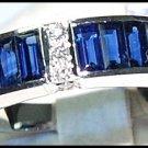 Unique Gemstone Diamond Blue Sapphire 18K White Gold Ring [RQ0013]