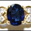 Solitaire Natural Diamond 18K Yellow Gold Blue Sapphire Ring [RS0189]