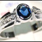 Solitaire Eternity Blue Sapphire Diamond Ring 18K White Gold [RS0194]