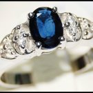 Diamond Solitaire Blue Sapphire Eternity 18K White Gold Ring [RS0085]