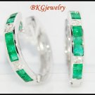 Gemstone Emerald Diamond Huggie Earrings 18K White Gold [EL0001]