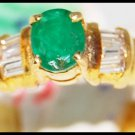 Natural Solitaire Diamond 18K Yellow Gold Emerald Ring [R0097]