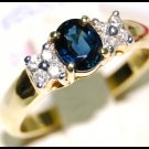 Solitaire Oval Blue Sapphire Diamond 18K Yellow Gold Ring [RS0019]