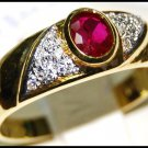 Jewelry Solitaire Diamond Ruby 18K Yellow Gold Ring [RS0080]