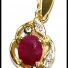 Eternity Ruby Gemstone Diamond Pendant 18K Yellow Gold [P0119]