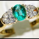18K Yellow Gold Solitaire Unique Diamond Emerald Ring [RS0073]