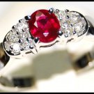 18K White Gold Diamond and Oval Ruby Solitaire Ring [RS0073]