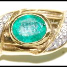 Solitaire Emerald Diamond Wedding 18K Yellow Gold Ring [RS0176]