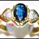 Unique Solitaire Blue Sapphire 18K Yellow Gold Diamond Ring [RS0110]