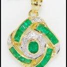 Emerald Circle Pendant Genuine Diamond 18K Yellow Gold [P0092]
