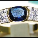 Oval Solitaire Blue Sapphire 18K Yellow Gold Ring Diamond [RS0117]