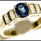 Diamond Genuine Solitaire Blue Sapphire 18K Yellow Gold Ring [RS0075]