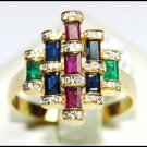 18K Yellow Gold Cocktail Genuine Diamond Multi Gemstone Ring [RF0011]