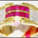 Diamond Promise Gemstone 14K Yellow Gold Ruby Ring [RR032]