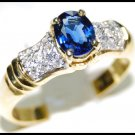 Diamond Solitaire Unique Blue Sapphire 18K Yellow Gold Ring [RS0076]