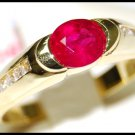 Solitaire 18K Yellow Gold Diamond Wedding Ruby Ring [RS0187]