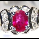 Unique 18K White Gold Diamonds and Oval Ruby Rings [RS0098]