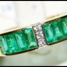 Gemstone Natural Diamond Emerald Ring 18K Yellow Gold [RQ0013]