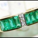 Gemstone Natural Diamond Emerald Ring 18K Yellow Gold [RQ0013]