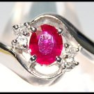 18K White Gold Ruby and Diamond Solitaire Ring [RS0096]