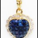 18K Yellow Gold Genuine Diamond Heart Blue Sapphire Pendant [P0070]