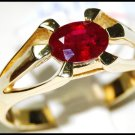 Jewelry 18K Yellow Gold Natural Ruby Solitaire Ring [RS0062]
