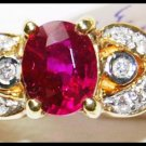 Ruby Diamond Jewelry Solitaire 18K Yellow Gold Ring [RS0186]