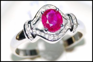 Diamond and Genuine Ruby Unique 18K White Gold [RS0127]