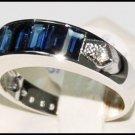 Gemstone Diamond Natural Blue Sapphire Ring 18K White Gold [RQ0008]