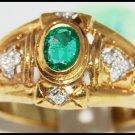 Solitaire 18K Yellow Gold Emerald Genuine Diamond Ring [R0069]