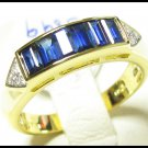 Natural 18K Yellow Gold For Men Blue Sapphire Diamond Ring [RQ0034]