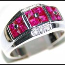 18K White Gold Ruby Gemstone and Diamond Ring [R0001]