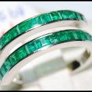 Genuine For Men Emerald 18K White Gold Gemstone Ring [R0020]
