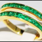 Emerald Wedding Gemstone 18K Yellow Gold Band Ring [R0020]