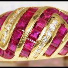 Unique Ruby and Diamond Ring Unique 18K Yellow Gold [R0076]