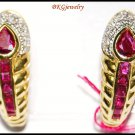14K Yellow Gold Natural Ruby Gemstone Clip-On Earrings [E_106]