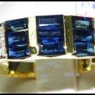 For Men Blue Sapphire Eternity Diamond 18K Yellow Gold Ring [RQ0041]